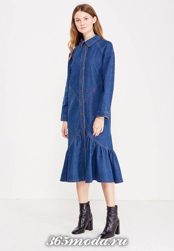 джинсовое миди платье с оборками осень-зима