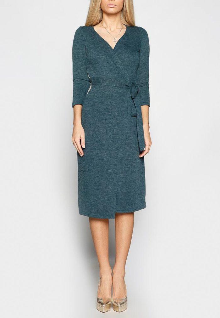 миди платье с запахом с длинными рукавами осень-зима