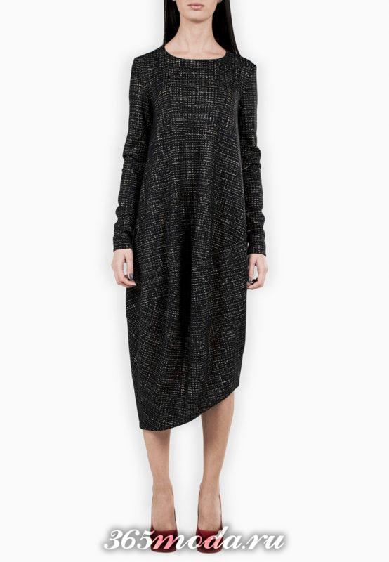асимметричное платье оверсайз с принтом осень-зима