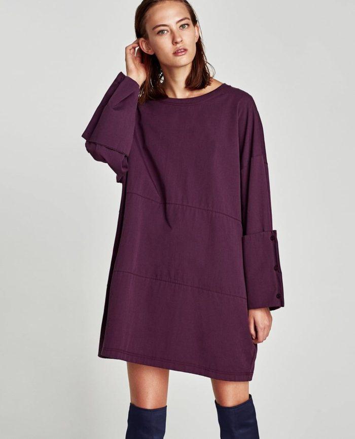 короткое фиолетовое платье оверсайз осень-зима