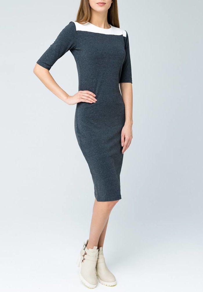 синее платье футляр с вставкой осень-зима