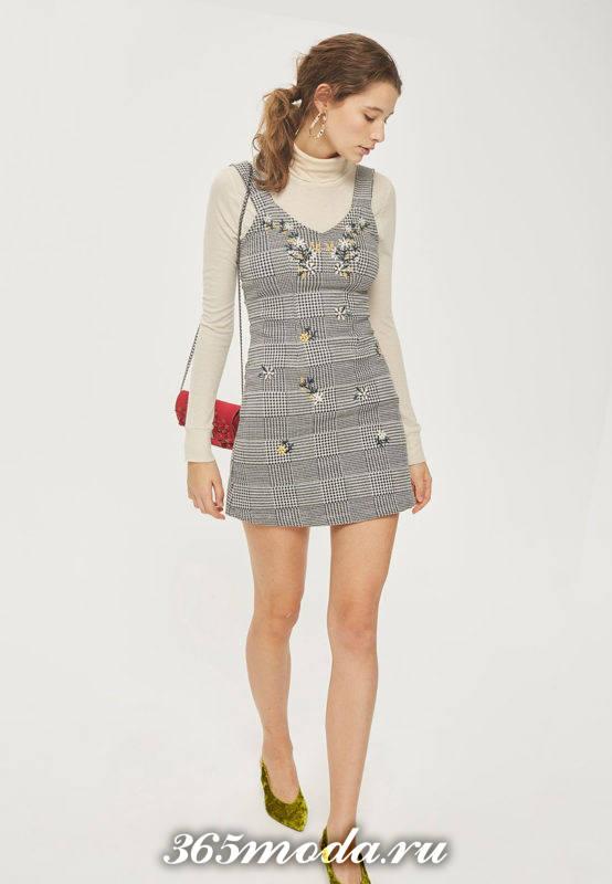 мин платье сарафан с принтом осень-зима
