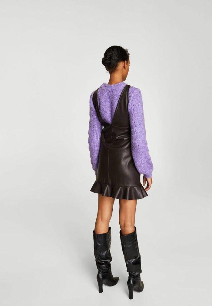 кожаное платье сарафан с оборкой осень-зима