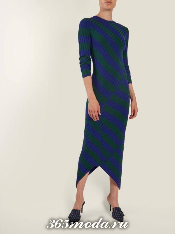 асимметричное полосатое платье осень-зима