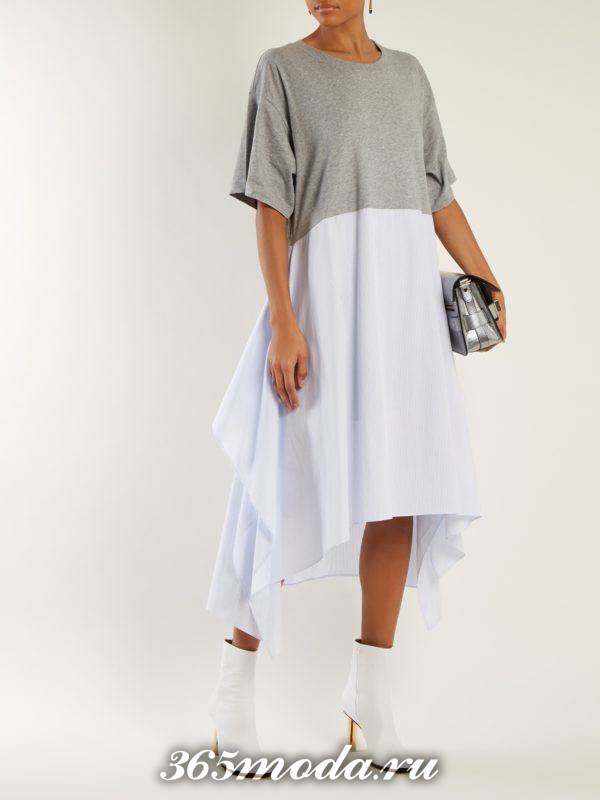 двухцветное асимметричное платье осень-зима