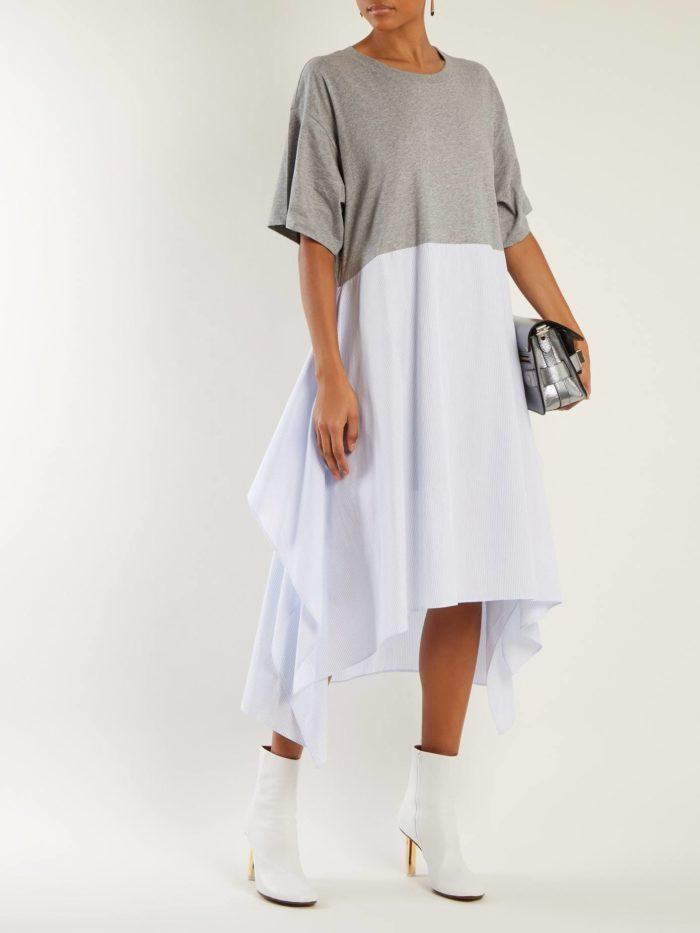 Модные женские платья осень-зима 2019-2020: двухцветное асимметричное