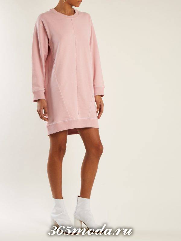 розовое мини платье-толстовка осень-зима