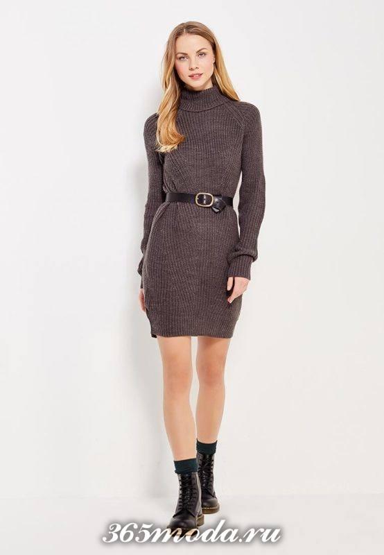 коричневое платье свитер с длинными рукавами осень-зима