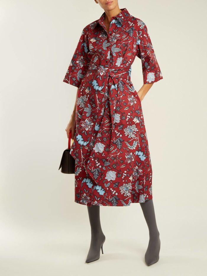 Модные женские платья осень-зима 2019-2020: бордовое миди с цветочным принтом