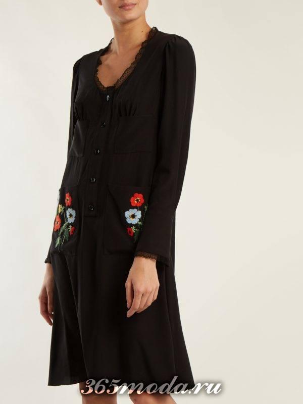 черное платье с накладными карманами осень-зима