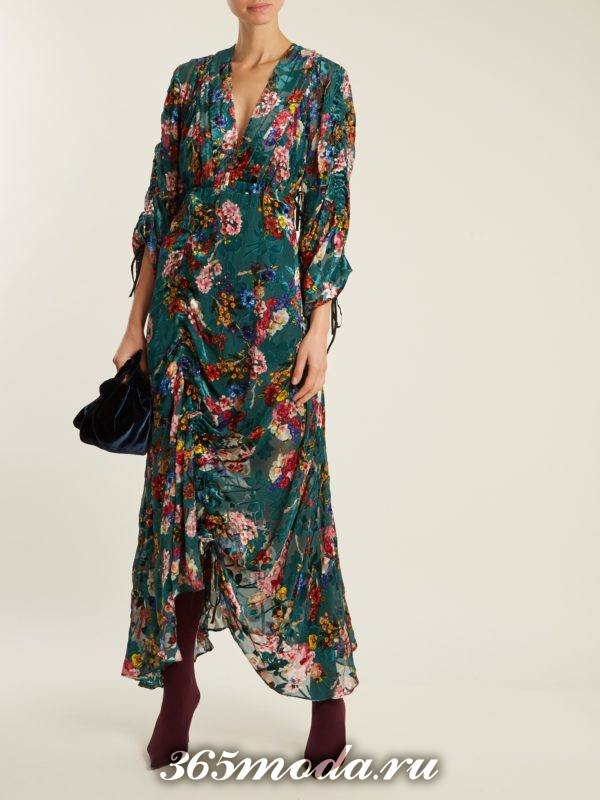 бархатное асимметричное платье с принтом осень-зима