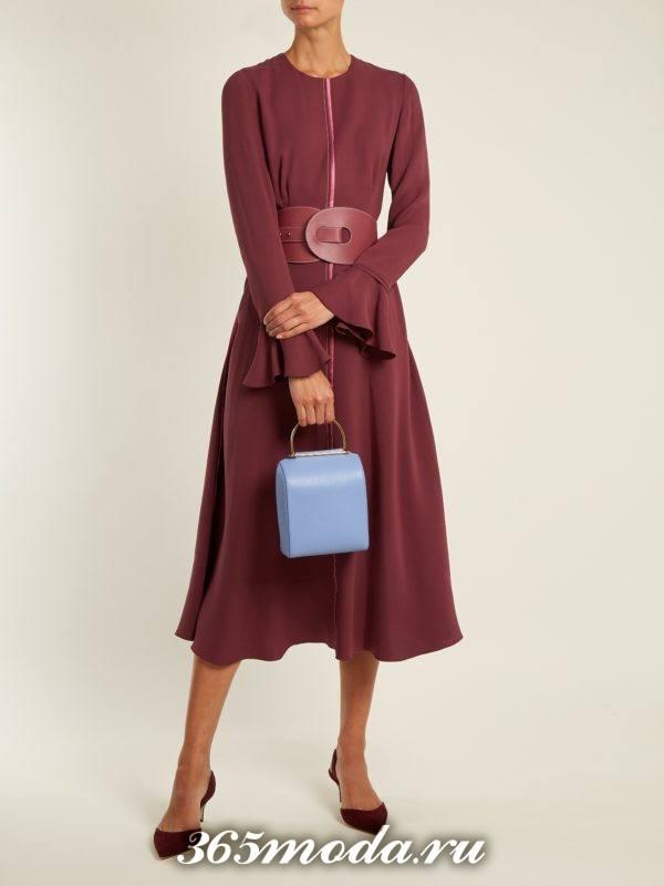 бордовое платье клеш с поясом осень-зима