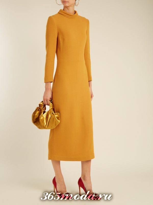 желтое миди платье осень-зима