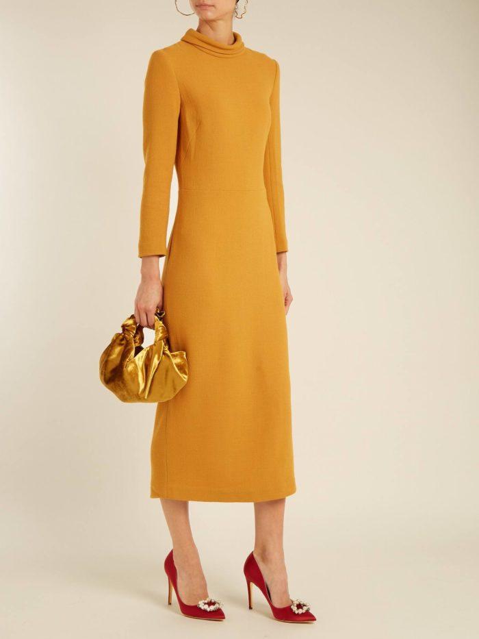 Модные женские платья осень-зима 2019-2020: желтое миди