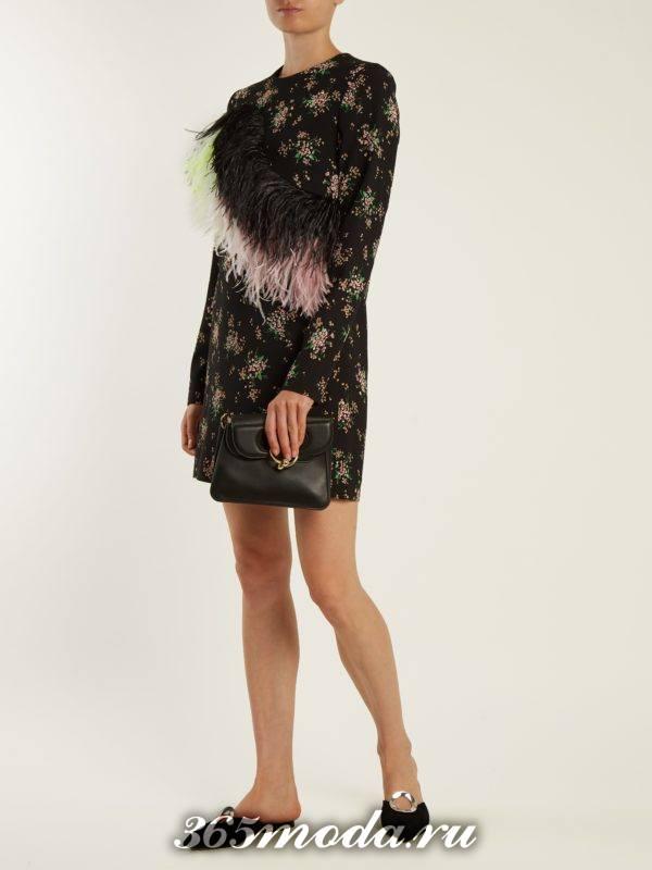 бархатное мини платье с декором и принтом осень-зима
