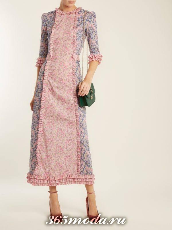 платье миди с принтом осень-зима