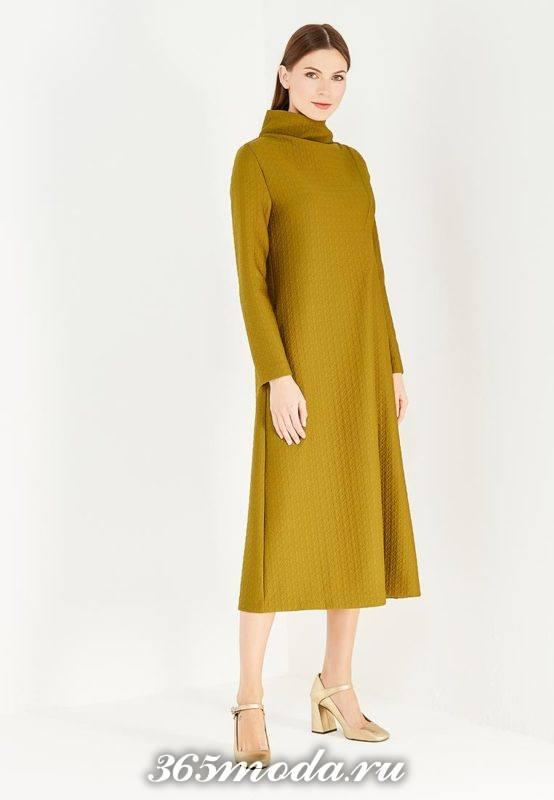 горчичное миди платье с воротником осень-зима