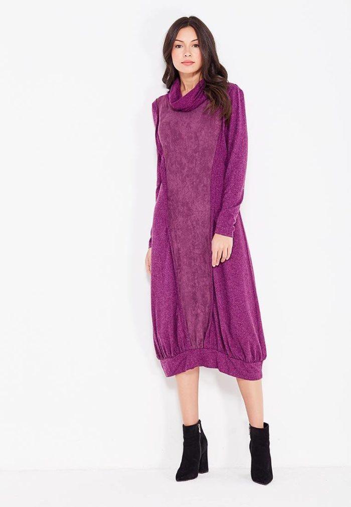 фиолетовое миди платье с манжетом с воротником осень-зима
