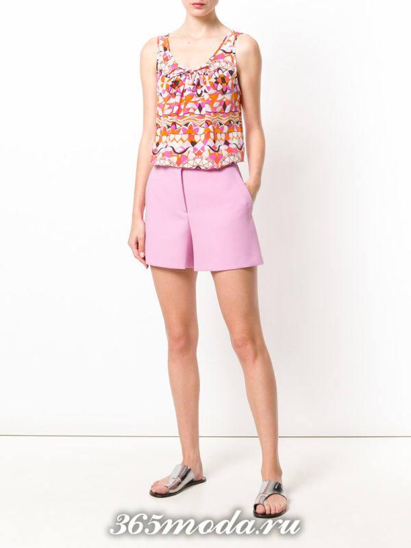 розовые пляжные шорты с завышенной талией