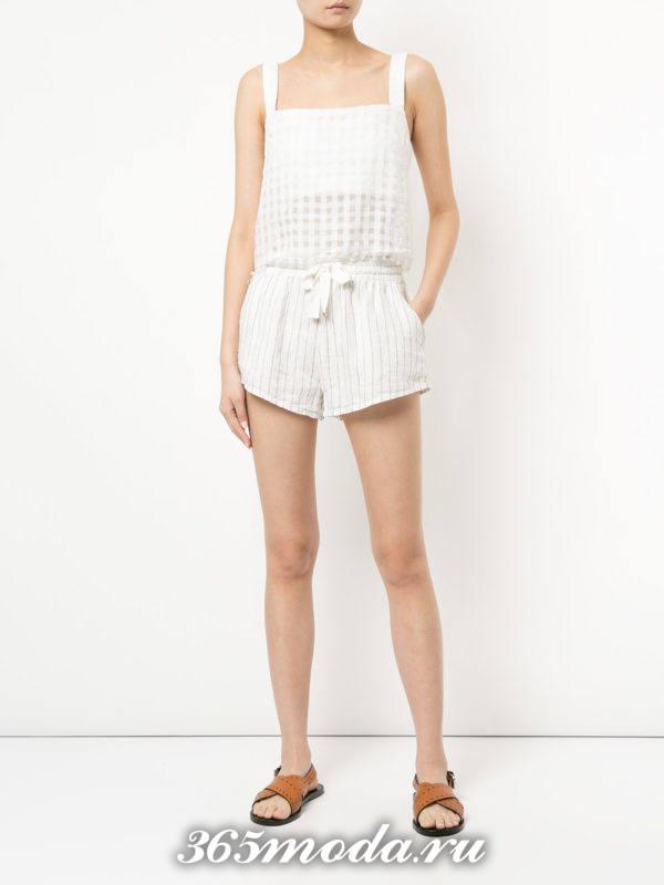 пляжные короткие белые шорты