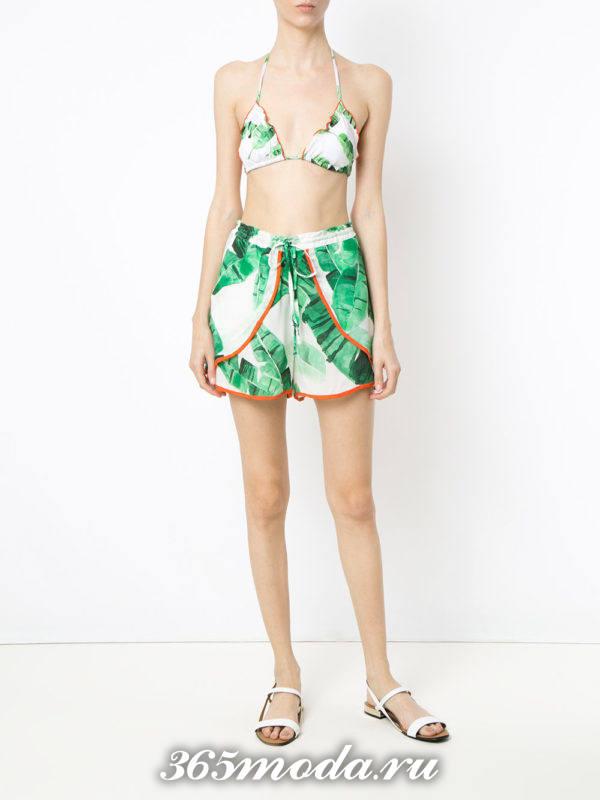 пляжные короткие шорты с принтом