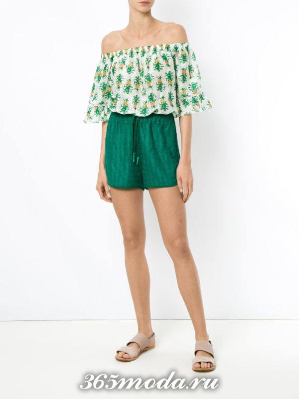 пляжные зеленые короткие шорты