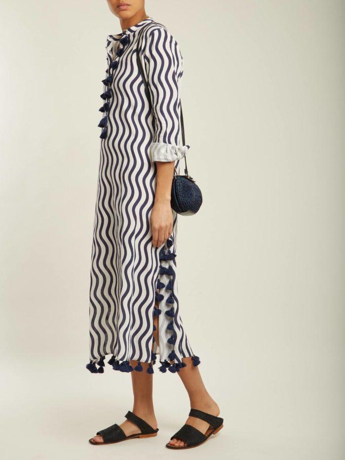 Пляжная мода 2019: длинный сарафан с принтом и декором