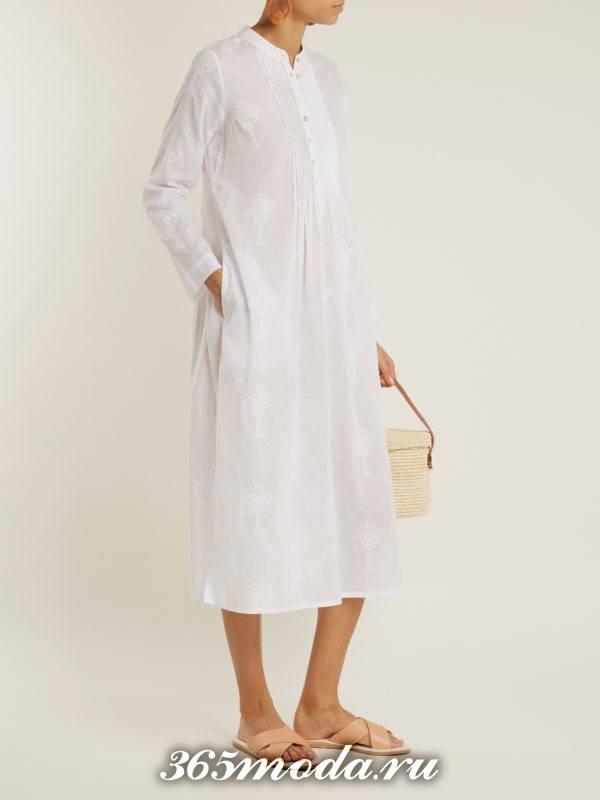 белый пляжный сарафан с длинными рукавами