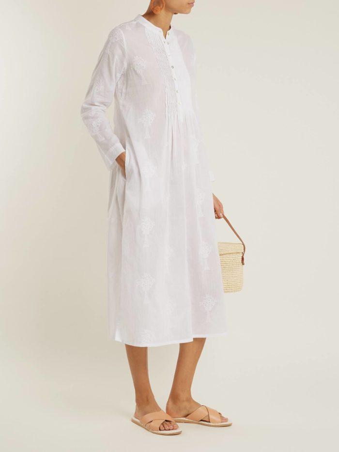 белый сарафан с длинными рукавами