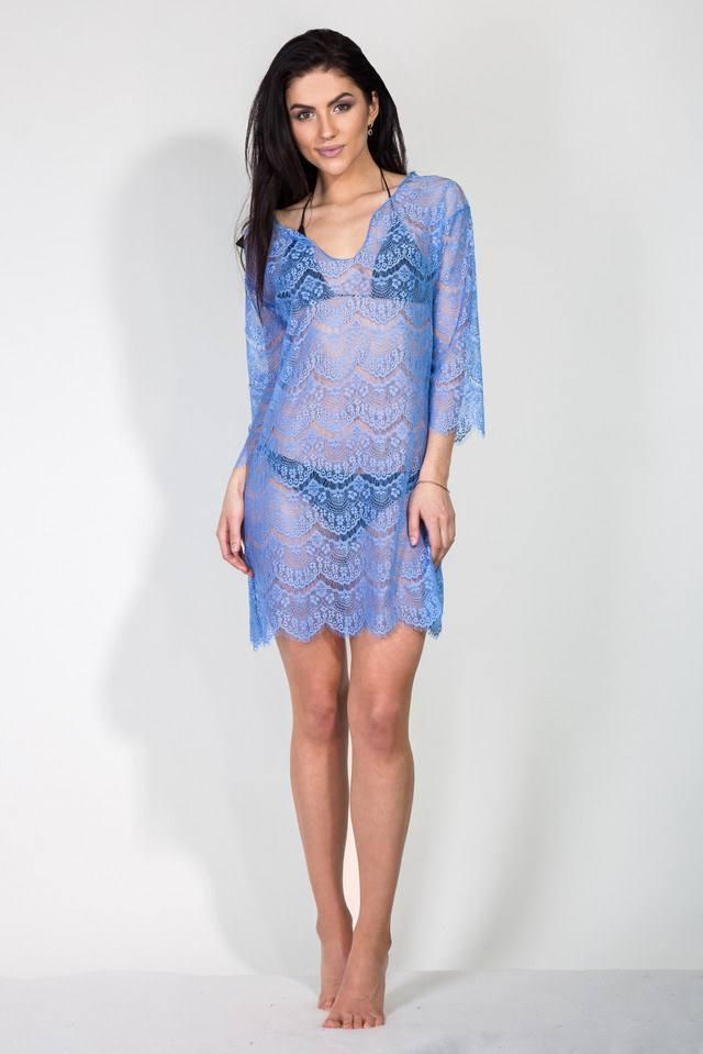 пляжное голубое кружевное платье-парео