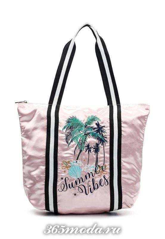 пляжная розовая сумка с рисунком