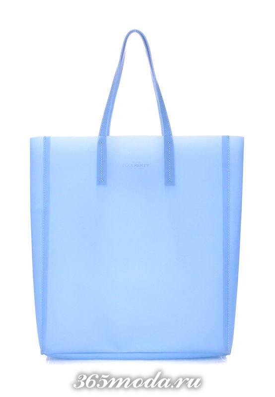пляжная голубая прозрачная сумка