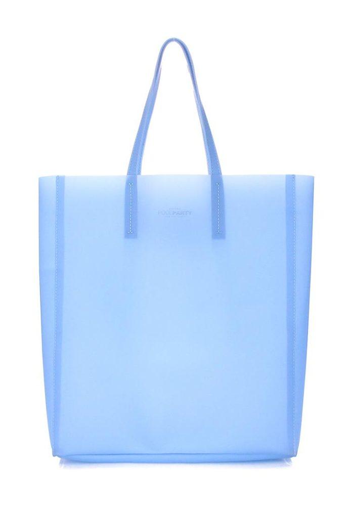 голубая прозрачная сумка