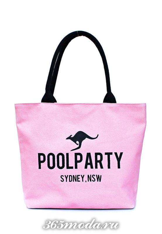 пляжная розовая сумка с надписью