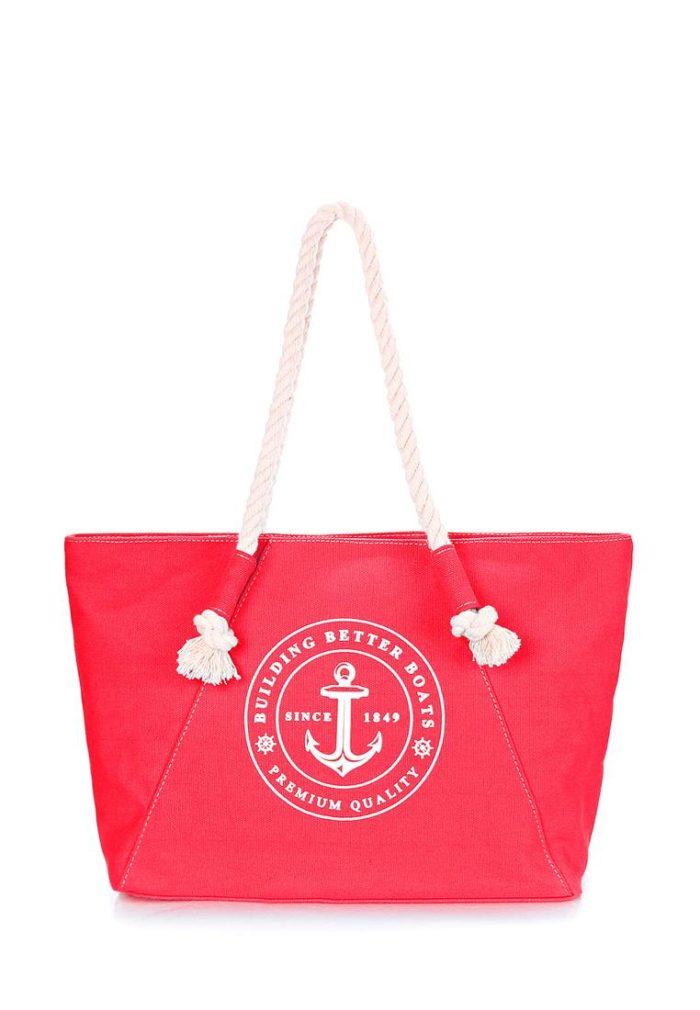 пляжная красная сумка с рисунком