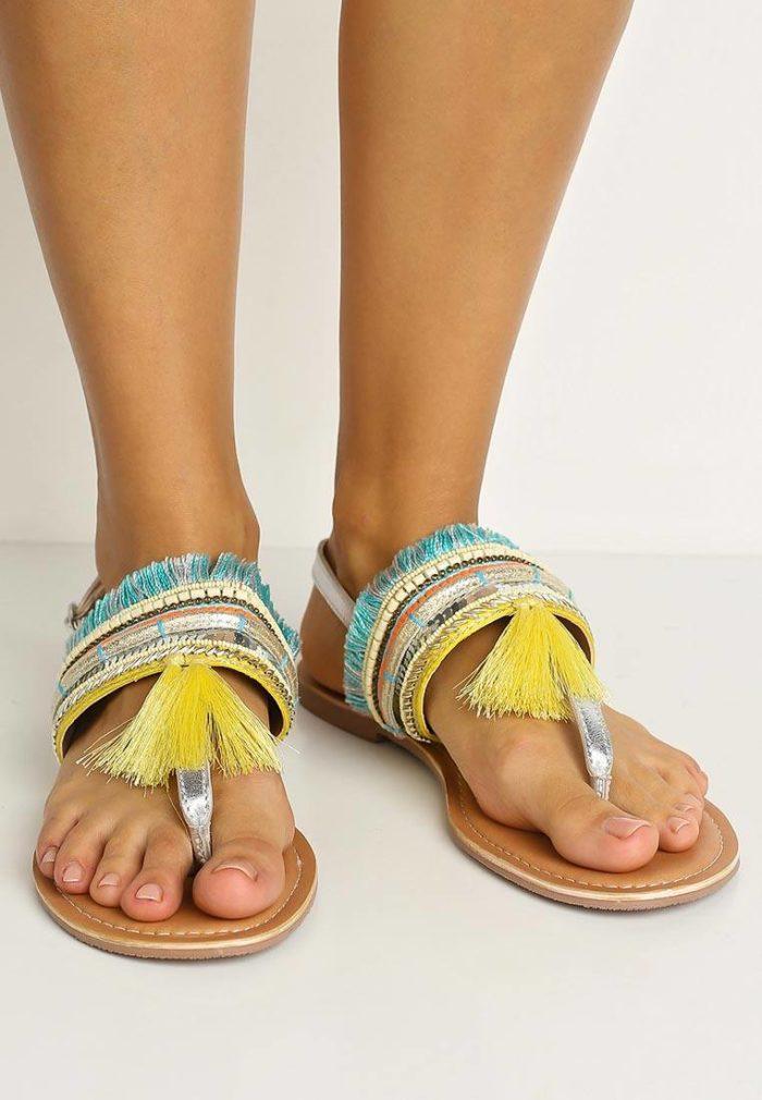 сандали с бахромой на низком ходу