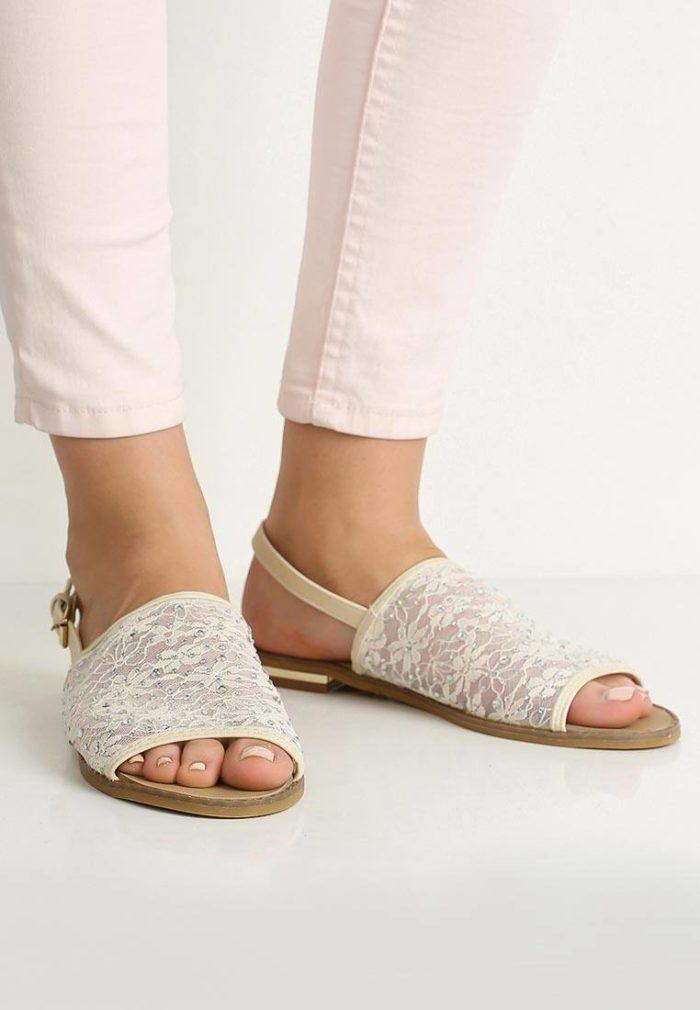 кружевные сандалии на низком ходу