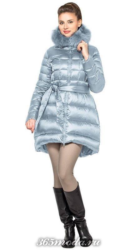 серый асимметричный пуховик-платье до колена