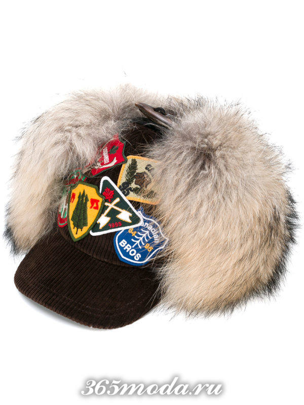 шапка-бейсболка с мехом