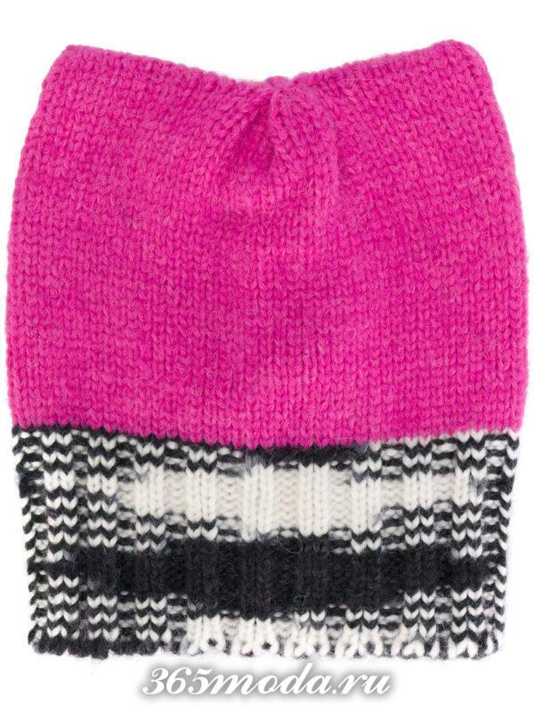 розовая вязаная шапка с отворотом
