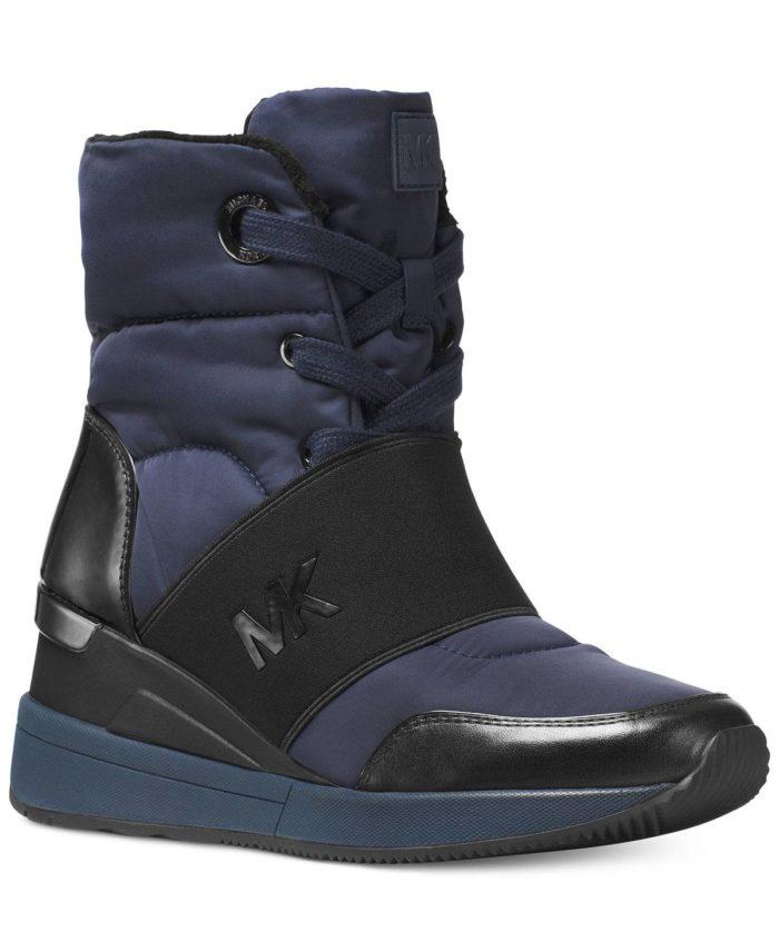 спортивные синие ботинки на танкетке со шнуровкой весна