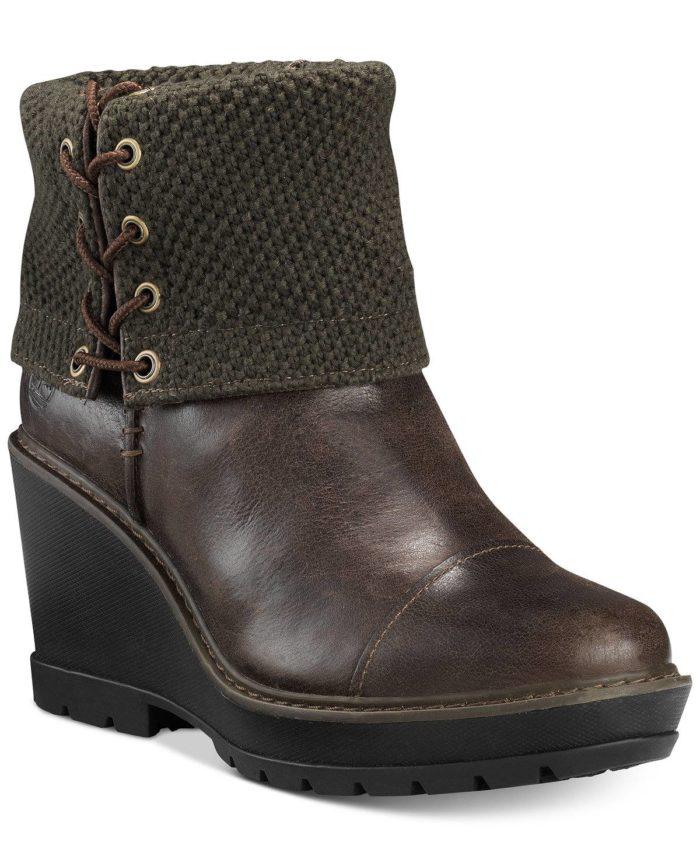 коричневые ботинки на танкетке с отворотом весна