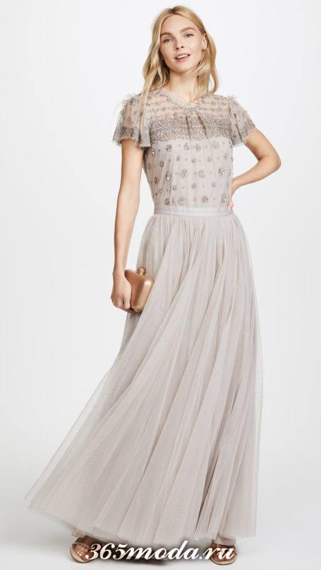 серая длинная юбка из фатина с блезой с декором