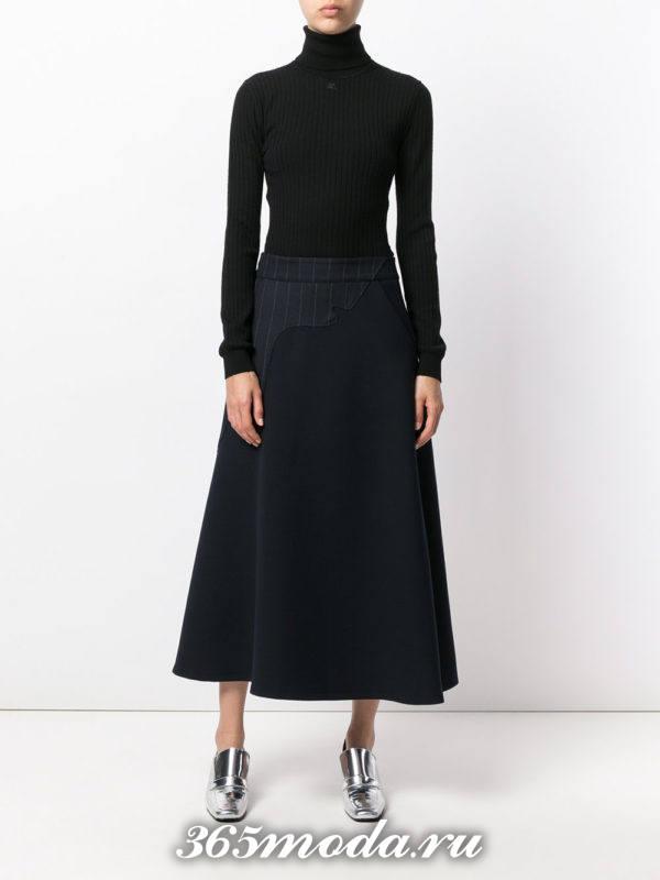 классическая длинная серая юбка клеш с черным гольфом