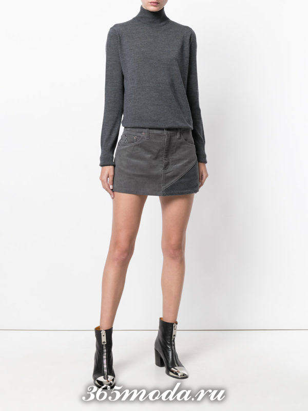 серая вельветовая мини юбка с чем носить