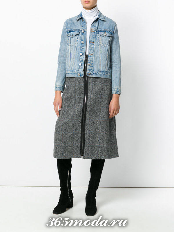 серая шерстяная юбка трапеция с молнией и джинсовая куртка
