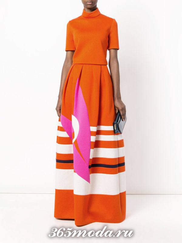 новогодний оранжевый юбочный костюм