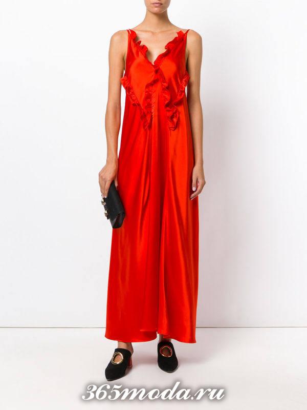 новогоднее оранжевое макси платье с оборками