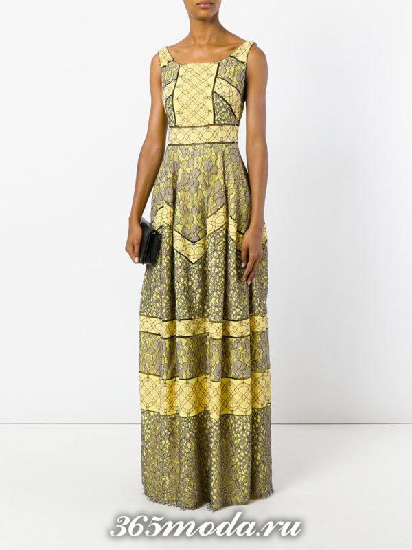новогоднее желтое платье макси с кружевом