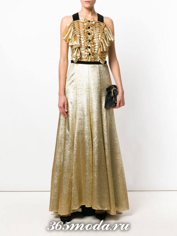 новогоднее золотое макси платье с жабо